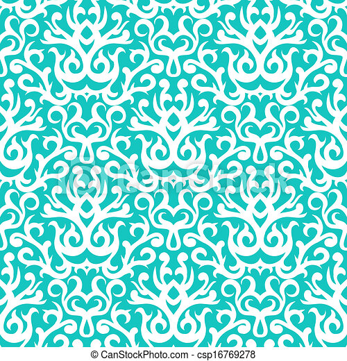 Damask pattern in white on turquoise - csp16769278