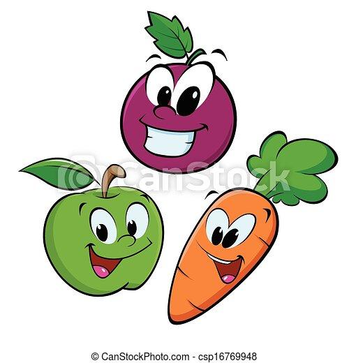 EPS vector de zanahoria, uva, manzana - caricatura, frutas ...