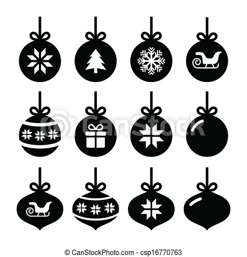 Clip Art Vector of Christmas ball, christmas icons - Winter ...