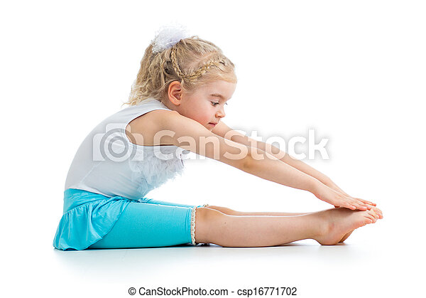 Kid girl doing fitness exercises - csp16771702