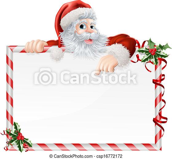 Santa Claus Cartoon Sign - csp16772172