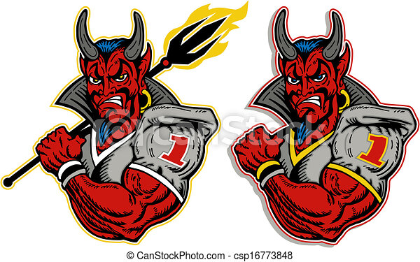 Football Player Logo Devil Football Player