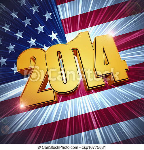 new year 2014 golden figures over shining american flag - csp16775831