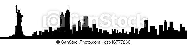 New York City Skyline Silhouette - csp16777266