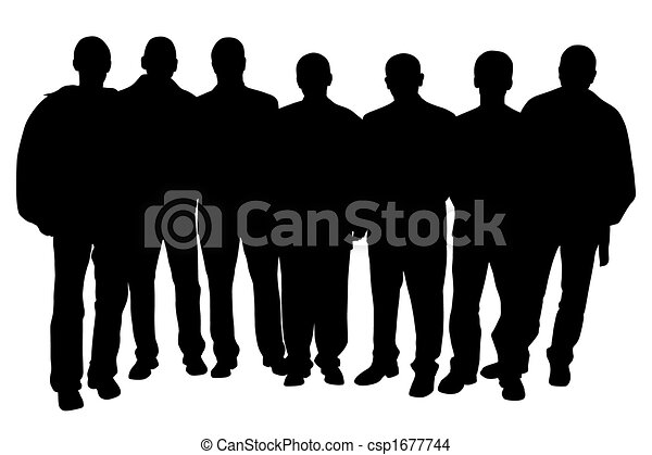 EPS Vector of Group of people - Group of seven young men people ...