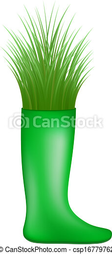 Vector - Grass growing from rubber boot - stock illustration, royalty