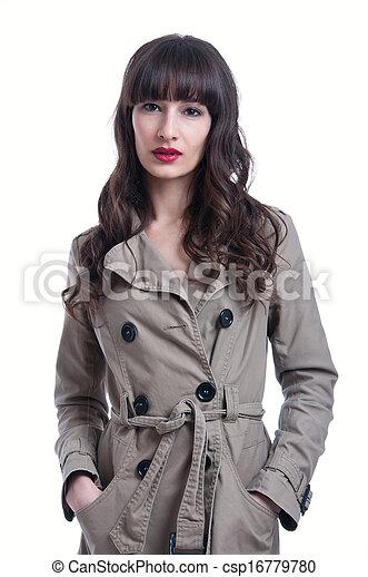 images de femme porter pluie manteau beau jeune brunette csp16779780 recherchez des. Black Bedroom Furniture Sets. Home Design Ideas