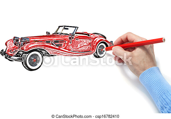 Drawing of the automobile - csp16782410