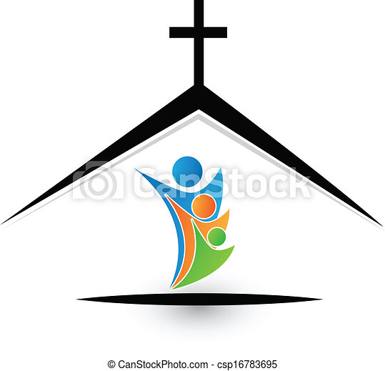 Family in church logo - csp16783695