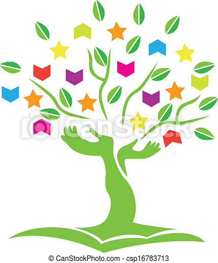 Tree with hands books stars logo - csp16783713