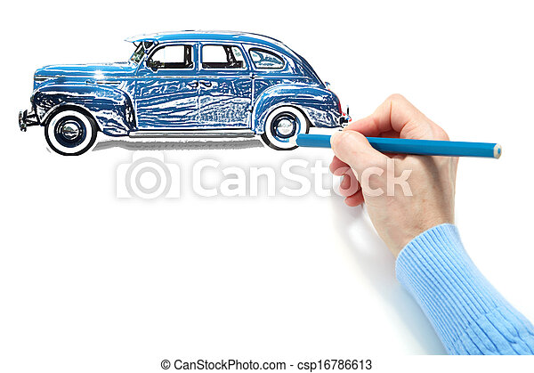 Drawing of the automobile - csp16786613