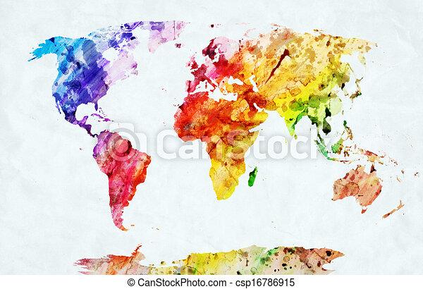 Clipart Von Aquarell Welt Landkarte Bunte Farbe Auf
