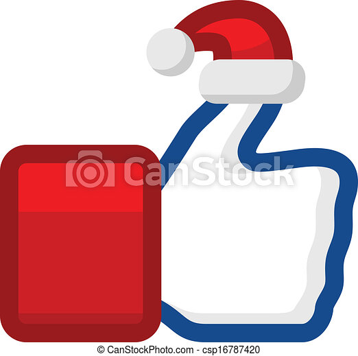 Vector Illustration of Like icon with Santa Claus hat on thumb ...