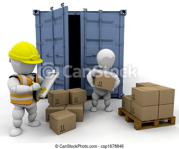 3D men handling materials - csp1678846