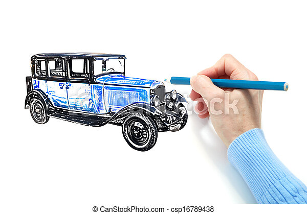 Drawing of the automobile - csp16789438