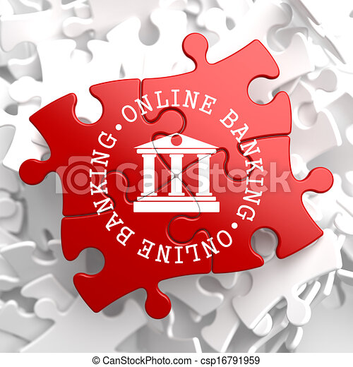 Online Banking Concept on Red Puzzle. - csp16791959