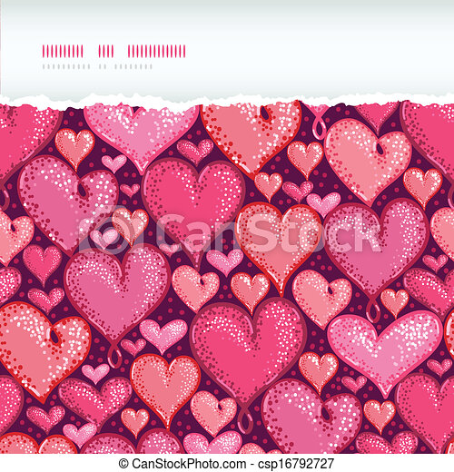 Red Valentine's Day Hearts Horizontal Torn Seamless Pattern Background - csp16792727