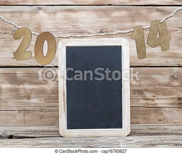 dos, mil, catorce, nuevo, año, número, decoración, ahorcadura, soga - csp16793627