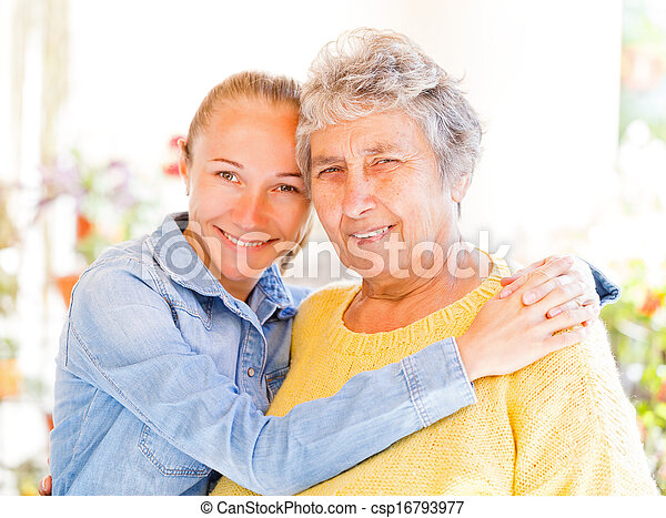 Elderly woman and her daughter - csp16793977