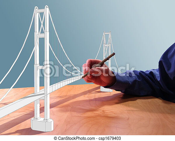 how to draw a suspension bridge in 3d