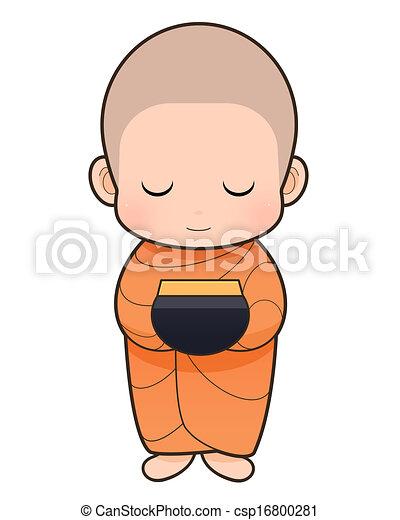 Stock Illustration of Buddhist Monk cartoon - Offer food to monk ...