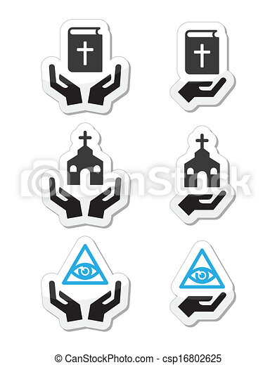 Religion icons - hands with bible,  - csp16802625