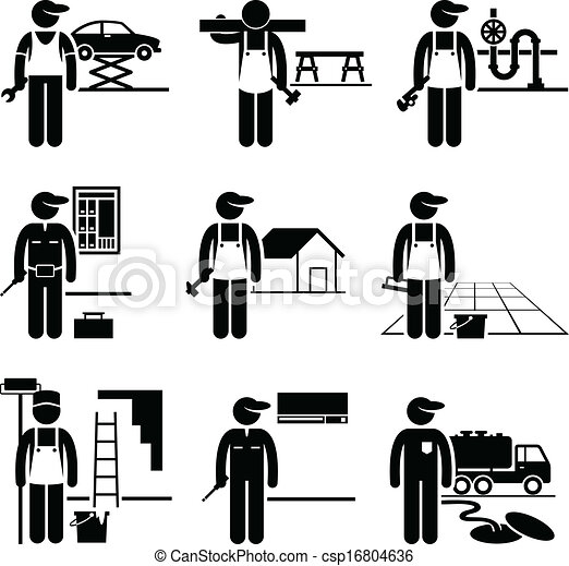 Vectors Of Handyman Skilled Jobs Occupations A Set Of