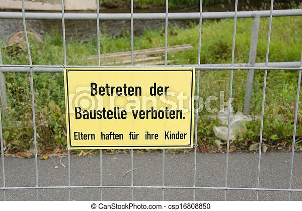 stock images of betreten der baustelle verboten german construction site csp16808850. Black Bedroom Furniture Sets. Home Design Ideas