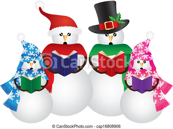 Clip Art Vector of christmas carolers - family in silhouette ...