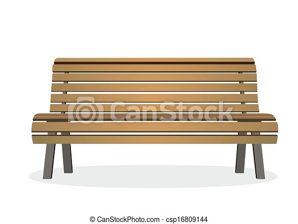Drawing of bench - frontal view of a wooden park bench ...