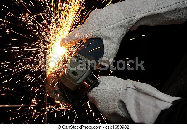 Industrial Grinding Orange Sparks - csp1680982