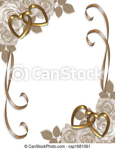 rose, matrimonio,  sepia, invito - csp1681061