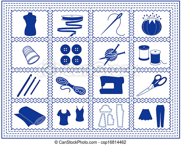 Clip art vector of sewing tailoring knit craft icon for Arts and crafts tools