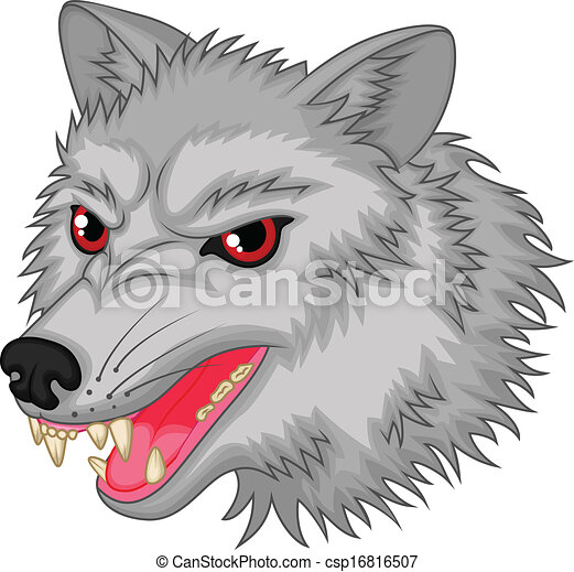 Vector clipart of angry wolf cartoon character vector illustration