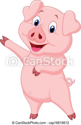 Clip art vecteur de mignon cochon pr sentation dessin - Dessin cochon mignon ...