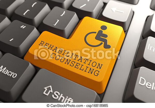 Rehabilitation Counseling for Disabled on Button. - csp16818985