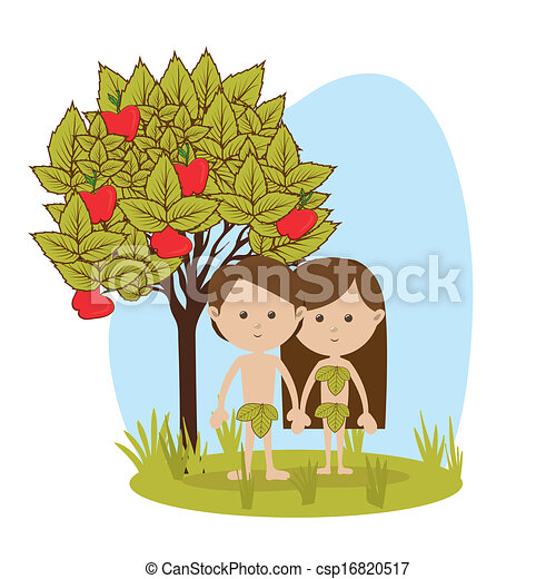 Vector Clip Art of adam and eve over white background vector ...