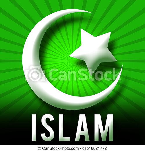 stock illustrations of islam symbol green burst islam