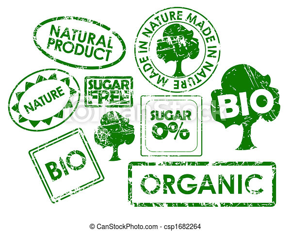 stamps for organic healthy food - csp1682264