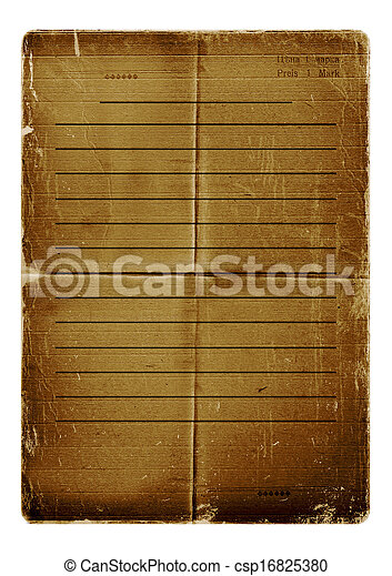 Grunge alienated paper design in scrapbooking style isolated on white background - csp16825380