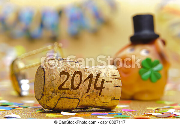 champaña, corcho, nuevo, año, 2014 - csp16827117