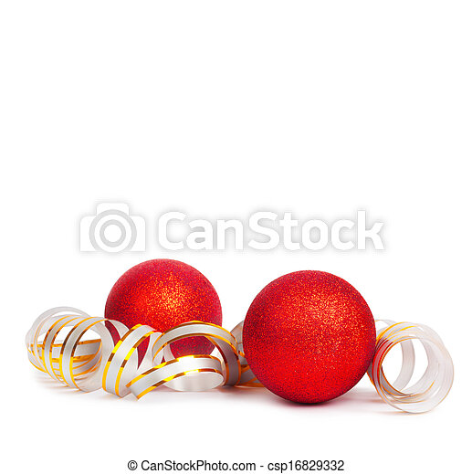 Red Christmas balls with golden streamer isolated on a white background