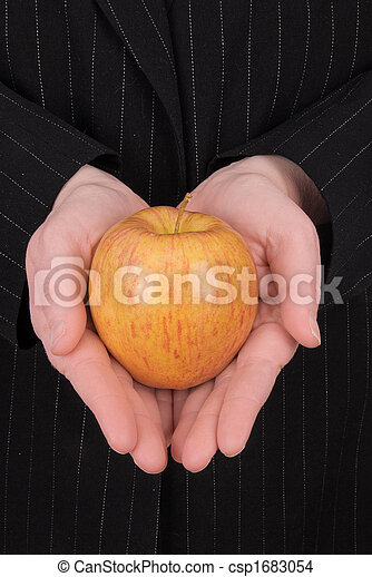 business woman Eve holding an apple