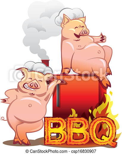 Two smiling pigs in chefs hats standing near the red smoker with burning letters BBQ - csp16830907