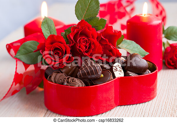 roses  and chocolate candies for Valentine's Day - csp16833262