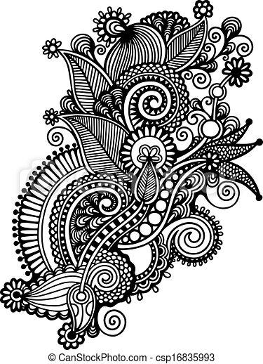 Main Dessiner Noir Et Blanc Ligne Art Orn Fleur Conception
