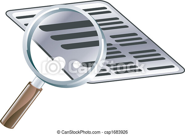 Magnifying Glass Document Search Icon Illustration - csp1683926