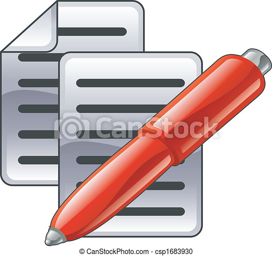 Shiny red pen and documents - csp1683930
