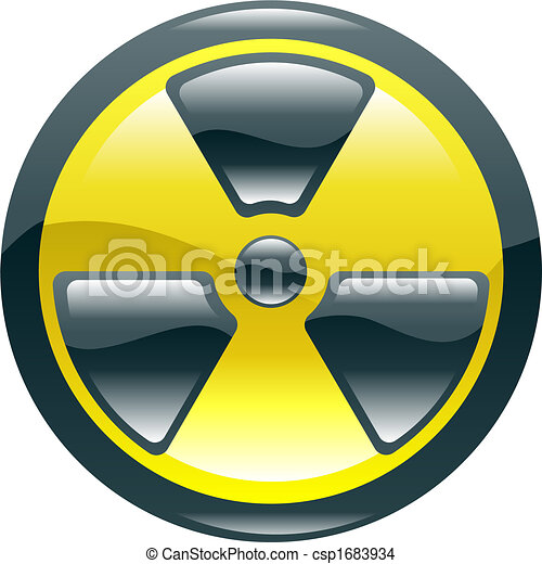 Glossy shint radiation symbol icon - csp1683934