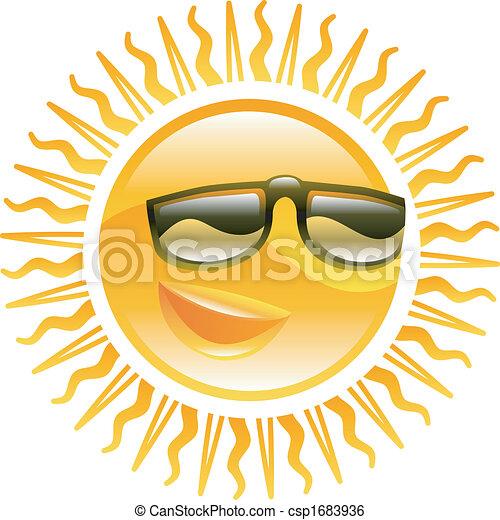 Smiling sun with sunglasses illustration - csp1683936
